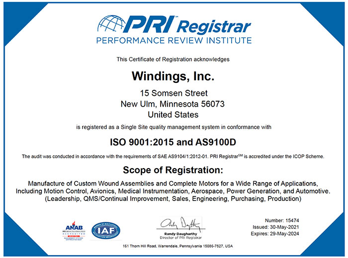 AS9100D Certificate May 4 2021 - May 4 2024