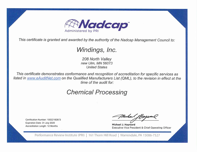NADCAP Chemical Processing Certification